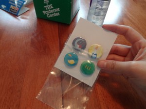 slide the magnets into the plastic bag