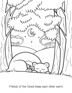Forest Friends Coloring Book Page - bear, fox, mouse