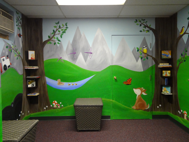 Reading Nook Mural Log Cabin Forest Animal Erie Pa