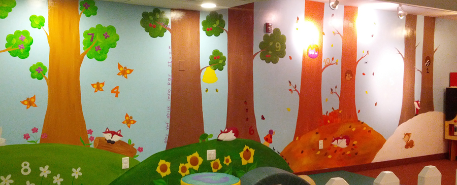 Four seasons tot spot mural painting illustration in for 4 seasons mural
