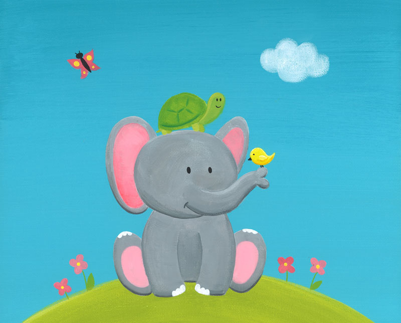Elephant and Friends ❀ Original Painting