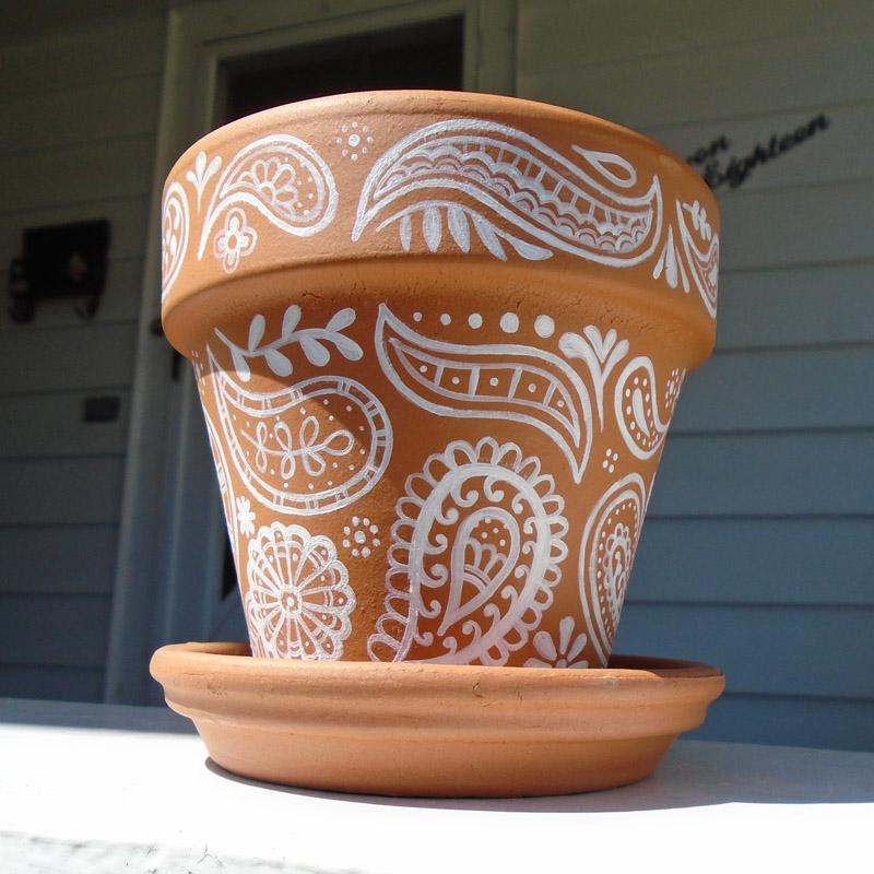 hand painted flower pots custom wedding shower favors. Black Bedroom Furniture Sets. Home Design Ideas