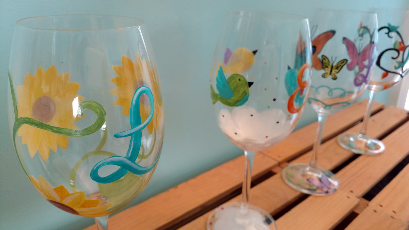 Hand painted wine glasses custom teacher gifts party for Baking enamel paint on glass