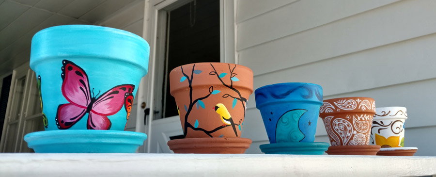 Image result for painted flower pots images